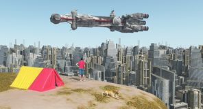World traveler, big city and huge spaceship. Computer generated 3D illustration with world traveler, big city and huge spaceship Stock Photography