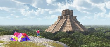 World traveler and Mayan temple. Computer generated 3D illustration with world traveler and Mayan temple Stock Photography
