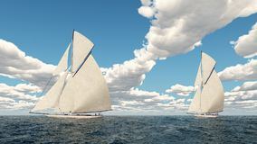 Yacht racing. Computer generated 3D illustration with a yacht racing Stock Images