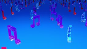 Computer generated 3D rendering. Rows of many multicolor musical notes on web background