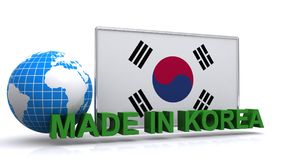 Made in Korea illustration. Computer generated flag of Korea with the words MADE IN KOREA in green across the front bottom and a blue and white grid globe to the Royalty Free Stock Photography