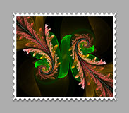 Computer generated fractal artwork stamp template. Computer generated stamp template with fractal artwork for creative use in art,design and entertainment Stock Image