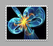 Computer generated fractal artwork stamp template. Computer generated stamp template with fractal artwork for creative use in art,design and entertainment Royalty Free Stock Image