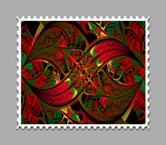 Computer generated fractal artwork stamp template. Computer generated stamp template with fractal artwork for creative use in art,design and entertainment Stock Images