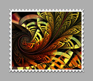 Computer generated fractal artwork stamp template. Computer generated stamp template with fractal artwork for creative use in art,design and entertainment Royalty Free Stock Photography