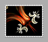 Computer generated fractal artwork stamp template. Computer generated stamp template with fractal artwork for creative use in art,design and entertainment Royalty Free Stock Images