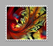 Computer generated fractal artwork stamp template. Computer generated stamp template with fractal artwork for creative use in art,design and entertainment Stock Photos
