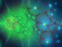 Fractal: Glowing Organic Shapes in Blue and Green royalty free illustration