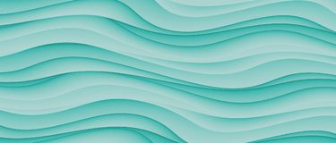 High Resolution Teal Green Abstract Waves Business Background Design. Computer generated high resolution cascading and tumbling waves background design in shades vector illustration