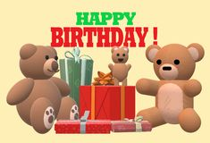 A birthday electronic greeting card with some teddy bears and wrapped presents. A computer generated illustration image of a birthday electronic greeting card stock illustration