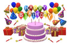 A computer generated illustration image of a birthday greeting poster card. With cake, balloons, whistles, presents and hats royalty free illustration