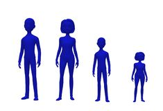 Blue silhouette of a family of four - father, mother, son and daughter. A computer generated illustration image of a blue silhouette of a family of four - father royalty free illustration