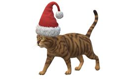 An illustration image of a brown tabby cat wearing a red santa hat stock image