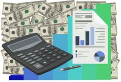 Business accounting and analysis showing charts and reports royalty free stock photos