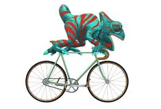 A chameleon riding on top of a racer bicycle royalty free illustration