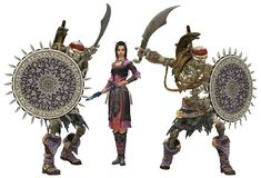 An asian chinese priestess with two undead guardians stock image