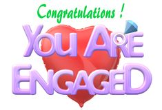 Congratulations - you are engaged electronic greeting card. A computer generated illustration image of a Congratulations - you are engaged electronic greeting royalty free illustration