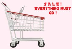 An empty shopping trolley with some sale promotion words. A computer generated illustration image of an empty shopping trolley with red font words of a sale royalty free illustration