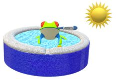 Boiling the frog - all about global warning. A computer generated illustration image of a frog in a pool of water under the intense sunlight. temperature of the vector illustration