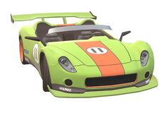 A luminous green painted racing car front view. A computer generated illustration image of the front view of a luminous green painted convertible race car stock illustration