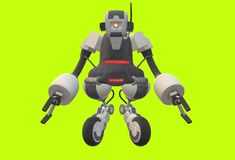 A futuristic robot with mechanical arms and wheeled legs. A computer generated illustration image of a futuristic robot with mechanical arms and wheeled legs royalty free illustration
