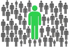 One in a million - a green man standing among grey man symbol signs logo. A computer generated illustration image of a green man in a million of grey man symbol vector illustration