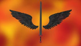 A long sword with black wings royalty free stock photography