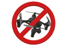 No drone flying allowed restriction signage. A computer generated illustration image of no drone flying allowed restriction signage against a white backdrop vector illustration