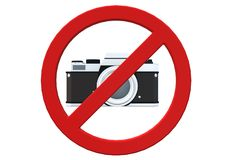 No photography allowed restriction signage vector illustration