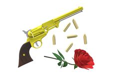 An illustration image of an old vintage revolver and a single rose Stock Photos