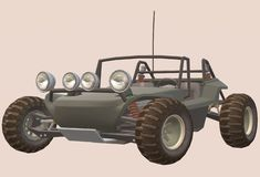An olive colored dune buggy vehicle. A computer generated illustration image of an olive colored dune buggy vehicle against a light pink colored backdrop vector illustration
