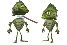 Two green imaginary amphibian creatures, one with the head chopped off. A computer generated illustration image of a pair of green imaginary amphibian creatures royalty free illustration