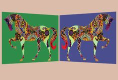 A pair of mirror symmetrical images of a horse with colorful patterns on the body. A computer generated illustration image of a pair of mirror symmetrical images stock illustration
