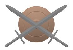Crossed swords and a shield in the centre royalty free stock photography