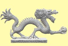 A plain white oriental snow dragon statue treasure against a light yellow backdrop. A computer generated illustration image of a plain white oriental snow dragon vector illustration