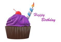 A birthday cupcake with a single candle royalty free stock photo