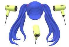 A purple blue long hair wig with three luminous hairdryers. A computer generated illustration image of a purple blue long hair wig with three luminous hairdryers vector illustration