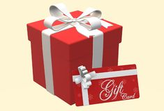 An illustration image of a red gift box and card stock images