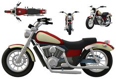A red motorcycle showing its side, front and top views. A computer generated illustration image of a red motorcycle showing its side, front and top views against royalty free illustration