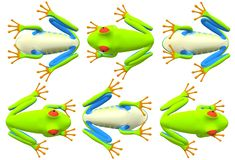 Repeated top and bottom view of a red-eyed tree frog stock image