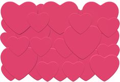 Many multiple overlapping pink hearts. A computer generated illustration image of several overlapping pink hearts of different sizes against a white backdrop royalty free illustration