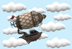 A side view of an imaginary flying ship flying in the clouds. A computer generated illustration image of a side view of an imaginary flying ship flying in the royalty free illustration