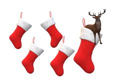 An illustration image of some christmas santa claus socks and a reindeer in one of it royalty free stock photos