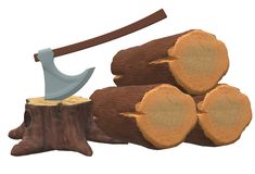 Some fallen cut tree logs wood, tree stumps and a woodcutter`s axe. A computer generated illustration image of some fallen cut tree logs wood, tree stumps and a vector illustration