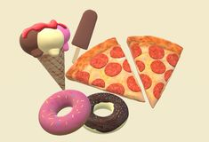 A graphics image of some ice-cream, pizza slices and doughnuts royalty free stock images