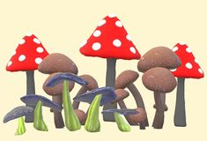 Various mushrooms of different shapes and colors. A computer generated illustration image of some mushrooms of different shapes and colors against a light yellow vector illustration