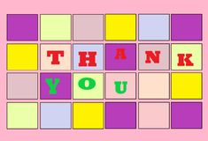 A thank you greeting electronic card. A computer generated illustration image of a thank you greeting electronic card against a white backdrop royalty free illustration