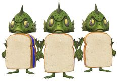 Three identical green amphibian monsters with bread body standing side by side. A computer generated illustration image of three identical green amphibian royalty free illustration