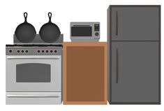 A typical kitchen setup with a refrigerator, stove, oven, cabinets and frying pans. A computer generated illustration image of a typical kitchen setup with a stock illustration