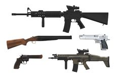 Various types of firearms stock image